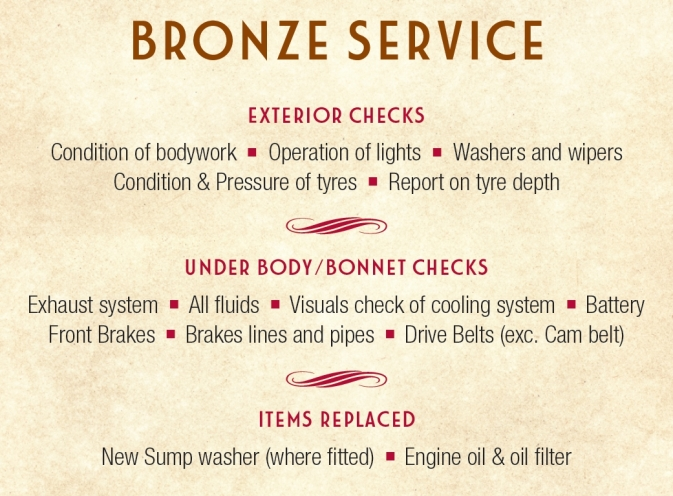 Bronze Fixed Price Service